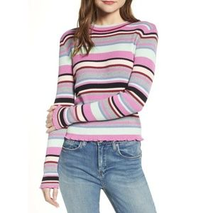 BP. Ribbed Lettuce Edge Stripe Sweater
